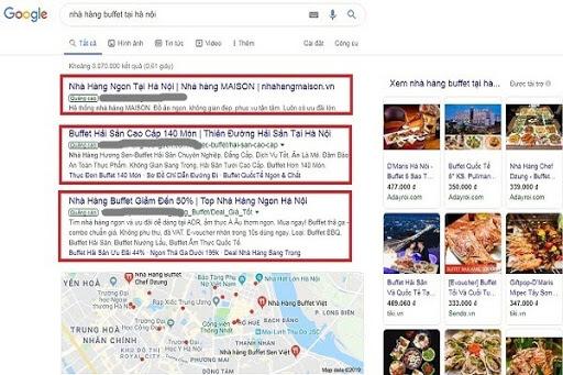 quảng cáo quán ăn trên google