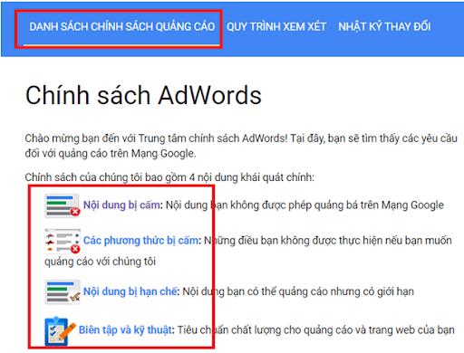 Những sản phẩm và dịch vụ không được phép chạy quảng cáo google? 1