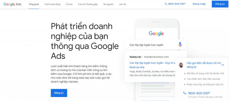 Đăng ký quảng cáo trên google
